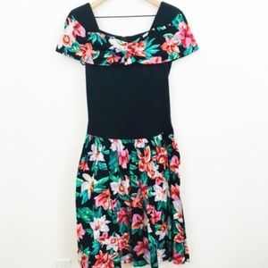 Vintage Floral Off Shoulder Black Dress 14